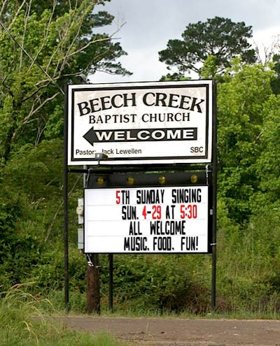 New Beach Creek Church Sign