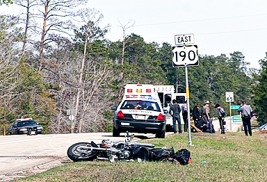 Officers respond to an auto-motorcycle collision February 6.
