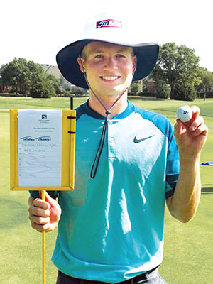 """Midas Touch: Woodville's Dawson Wainwright after hitting his second hole in one in consecutive tournaments."" (Image courtesy of Facebook)"