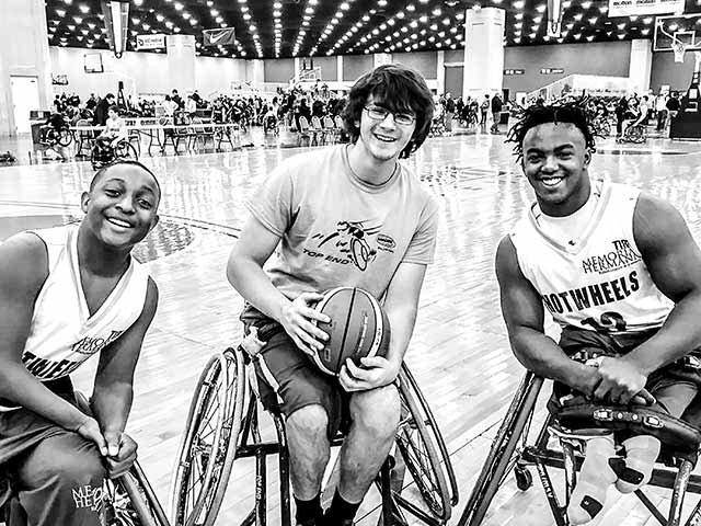 We Three Kings: Kesean Paire, Garrett Castillo and Carrington Marendes play at the National Wheelchair Basketball Tournament in Louisville, KY. (Photo Melissa Castillo)