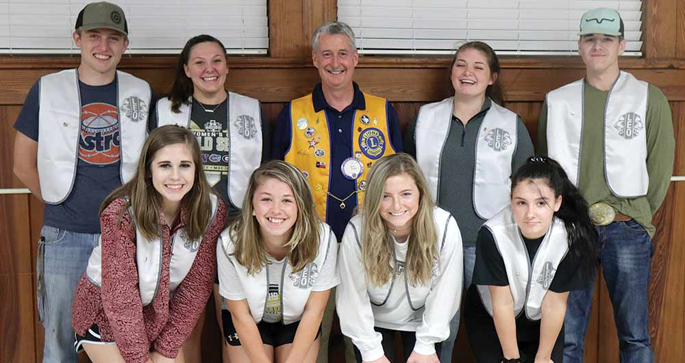 Tyler County Leos, pictured left-to-right, front row: Aly Tullos; Madison Benthall; Annie Rayburn and Jasmine Mitchell. Back row: Logan Tullos; Abby Wilson; Ken Jobe; Briana Kort and Payton Corona. Not pictured: Trey Spencer (CHRIS EDWARDS | TCB PHOTO)