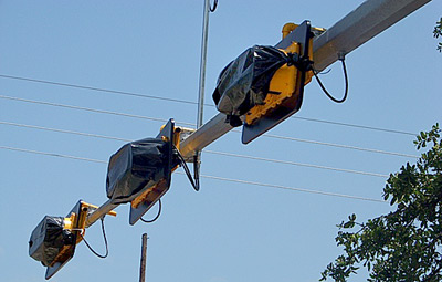 New Traffic Lights going up in Woodville. (Emily Waldrep Photo)