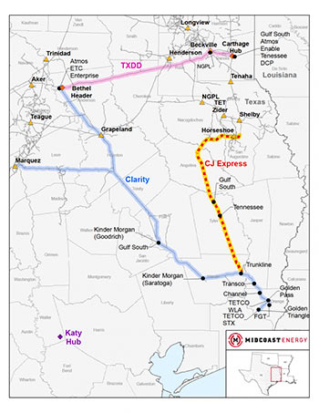 The projected route of the CJ Express pipeline.