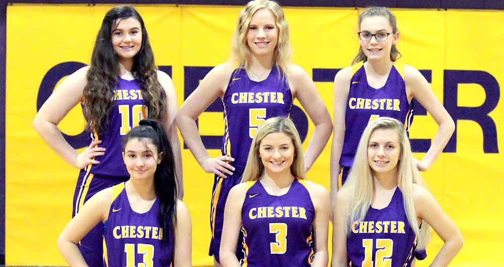"The Chester Lady Jackets have brought home a district ""Co-Champion"" trophy for the first time in more than 30 years. Pictured, left to right: Front - Jasmine Mitchell, Annie Rayburn, Trinity Jerkins. Back - Emma Grimes, Josey Sturrock, Brianna Cowan. Not pictured: Coach Cory Hines, managers Sealy Hines and Brynn Watson and videographer Bro. Hails Taylor.  (JANA RAYBURN 