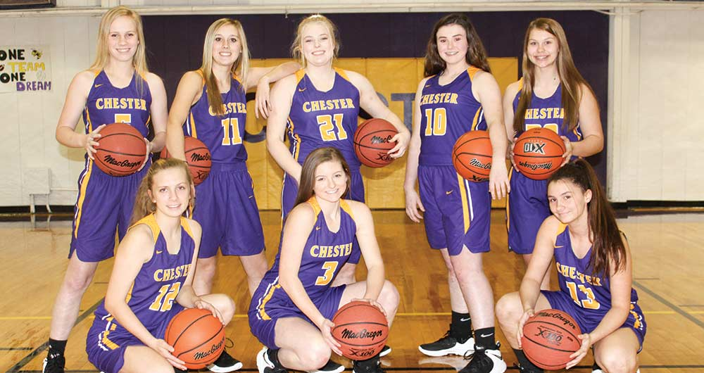 The Chester Lady Jacket basketball team is playoff bound.  PIctured are:  front row, left to right:  Trinity Jerkins, Annie Rayburn, and Jasmine Mitchell; back row, left to right:  Josey Sturrock, Taylor Handley, Ashlyn Overstreet, Emma Grimes and Madison Callaway.  (JANA RAYBURN | TCB PHOTO)