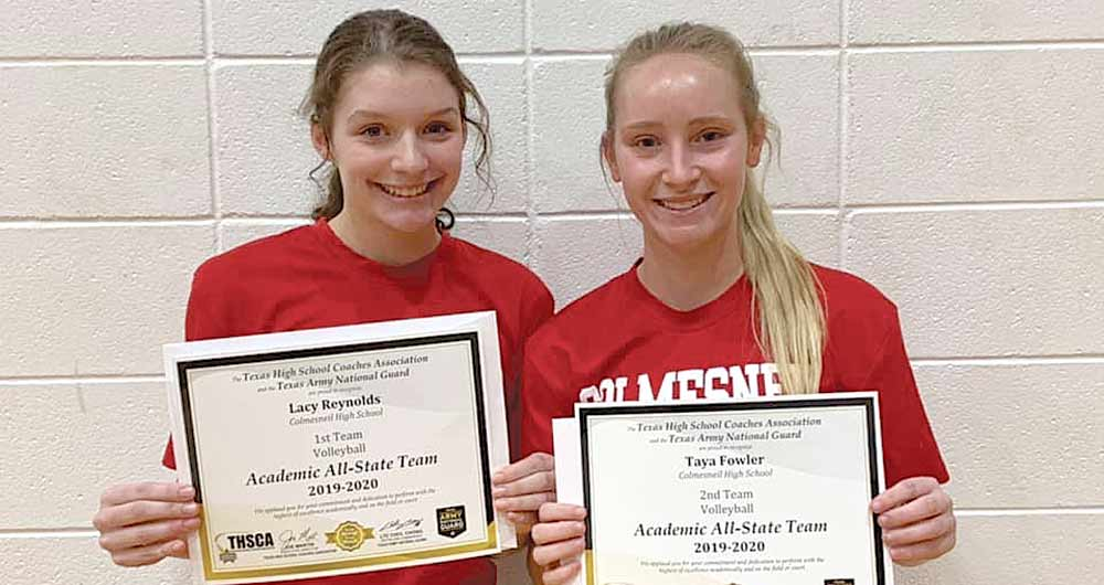 Seniors Lacy Reynolds and Taya Fowler with their Academic All-State awards. (PHOTO COURTESY OF CISD ATHLETICS)
