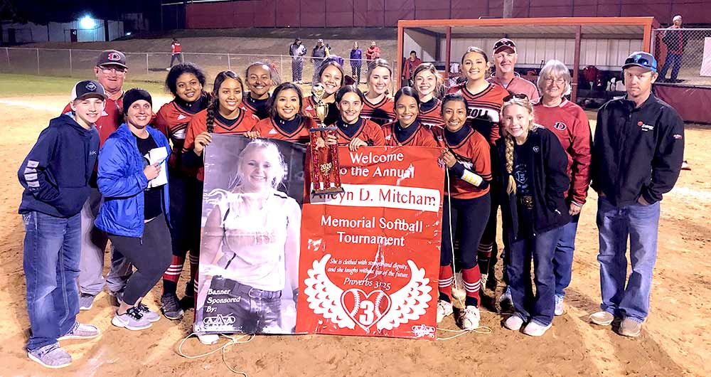 The winning team, Diboll Varsity Lady Jacks, at the Alicyn D. Mitcham Annual Softball Tournament.