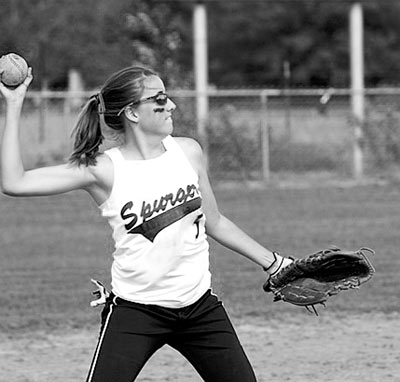 Ashley Hollier throws the softball during her last season in High School. (Emily Waldrep Photo)