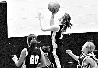 Photo: Woodville Eagle Haley Briers up for a basket