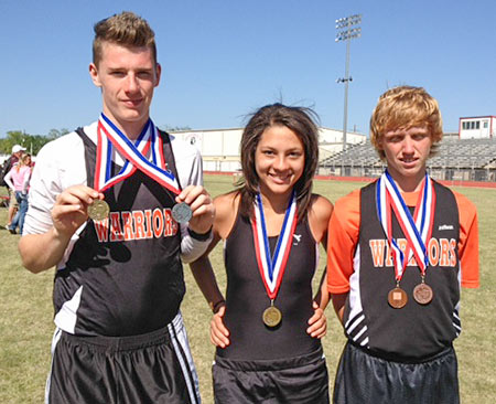 Cody Hammons, Keri Banks, and William Pelt with their medals.